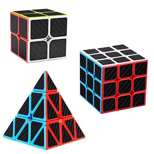[해외]D.F.L 스피드 큐브 세트 3팩 루빅 큐브 번들 매직 큐브 세트 3D 퍼즐 탄소 섬유 스티커 2x2x2 3x3 삼각형 피라미드 루빅 큐브 부드러운 파티 선물 장난감 성인용 / Speed Cube Set 3 Pack , Magic Cube Set Bundle Speed Cubes  3d Puzzles Carbon F...