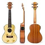 Kmise Concert Electric Acoustic Ukulele Solid Spruce Ukelele Uke Hawaii 4 String Guitar 18 Frets 21 inch with 3 Band EQ