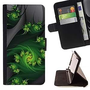 For Samsung Galaxy A5 ( A5000 ) 2014 Version Case , Fractal Art Weed Naturaleza Gray- la tarjeta de Crédito Slots PU Funda de cuero Monedero caso cubierta de piel