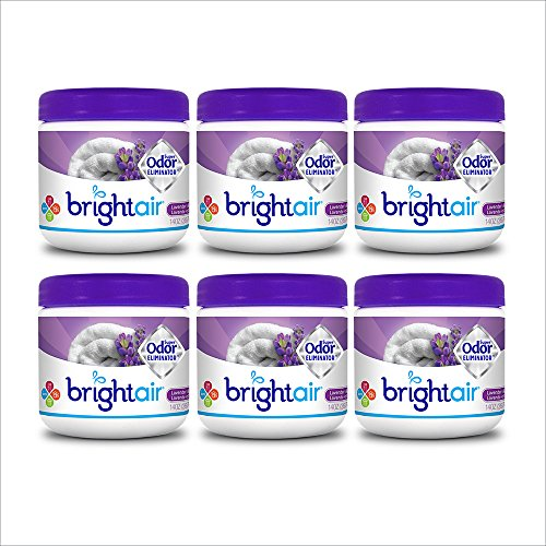 Bright Air Solid Air Freshener and Odor Eliminator, Lavender and Linen Scent, 14 Ounces, 6 Pack