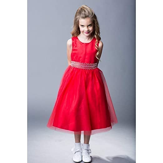 be4285b6dc673 Amazon.com: The Rain Kids Little Girls Red Sparkly Tulle Pearls Occasion  Christmas Dress 2-6: Clothing