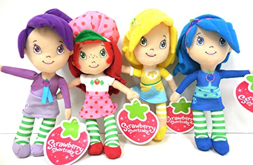 Strawberry Shortcake Plush and Friends Blueberry Muffin, Plum Pudding, Lemon Meringue 10 Inches Medium Size