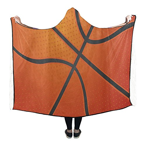 Hooded Basketball (Hooded Blanket Basketball Texture Pilling Polar Fleece Hooded Throw Wrap 80 x 53 Inch)