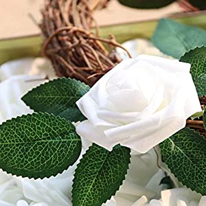 MARJON FlowersPack of 50 Real Looking Artificial Roses w/Stem for DIY Wedding Bouquets Centerpieces Arrangements Party Baby Shower Home Decorations (White) 2