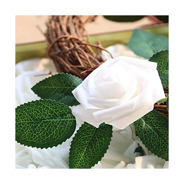 MARJON-FlowersPack-of-50-Real-Looking-Artificial-Roses-wStem-for-DIY-Wedding-Bouquets-Centerpieces-Arrangements-Party-Baby-Shower-Home-Decorations-White