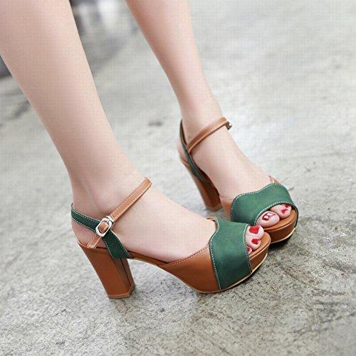 Carolbar Chic Kvinna Spänne Blandade Färger Mode Peep Toe Plattform Chunky Hög Klack Sandaler Deep Green