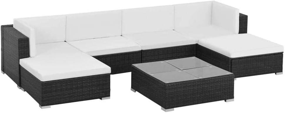 SOULONG - Juego de 7 Muebles de jardín de ratán sintético, sofá y Mesa con Cojines de jardín para Exterior: Amazon.es: Hogar