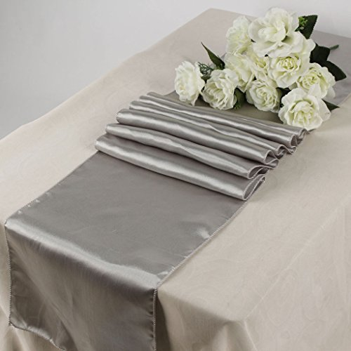 MDS Pack Of 10 Wedding 12 x 108 inch Satin Table Runner For Wedding Banquet Decoration- Silver Gray (Silver Table Runners)