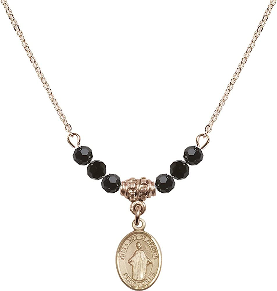 18-Inch Hamilton Gold Plated Necklace with 4mm Jet Birthstone Beads and Gold Filled Our Lady of Africa Charm.