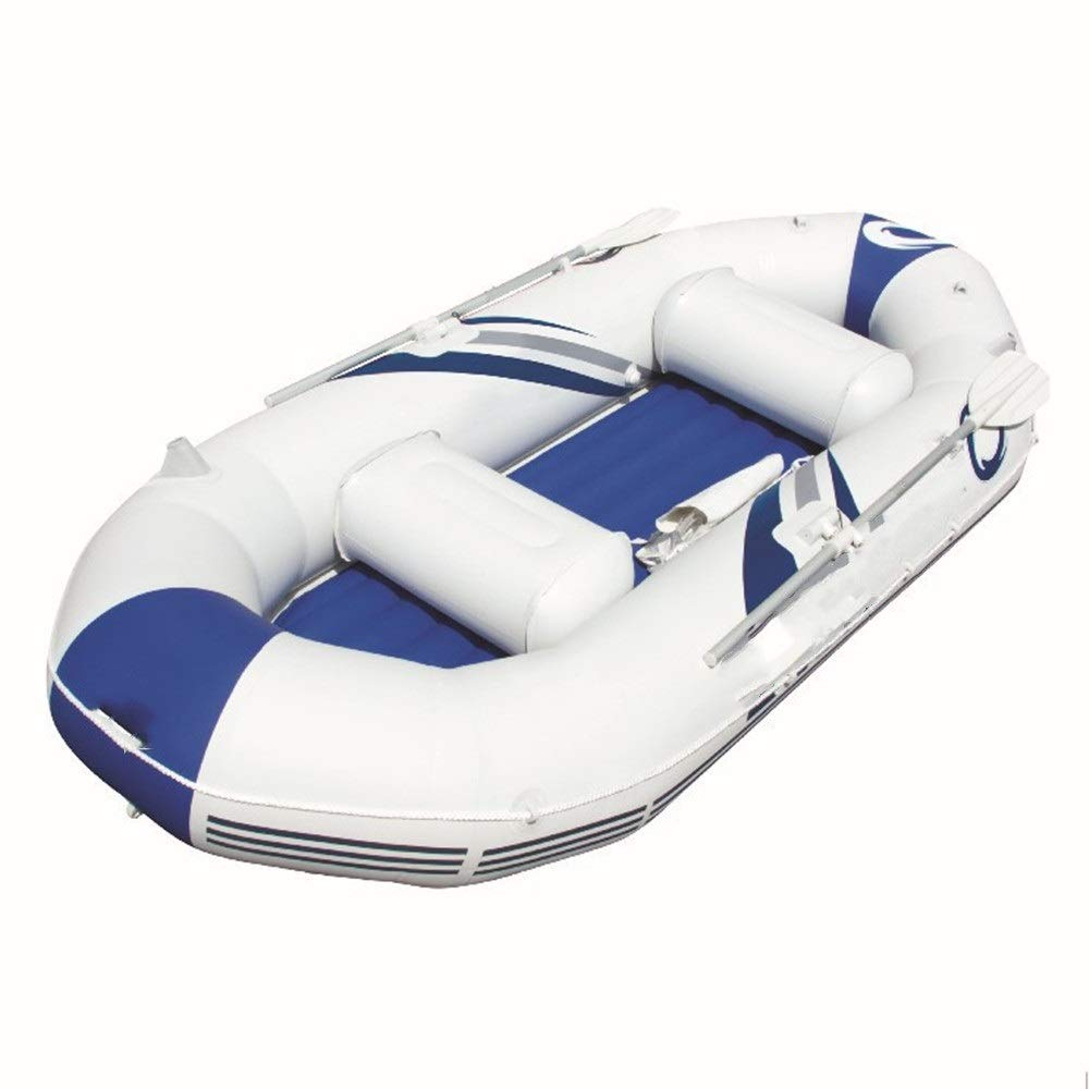 Durability Inflatable Kayaks Durable Triple-Clip Net Boat Inflatable Boat Kayak Drift Boat Fishing Boat Rubber Boat Thick Inflatable (Color : White, Size : 291x127x46cm) by BoeWan