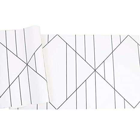 Geometric Black And White Plaid Wallpaper Modern Minimalist Living