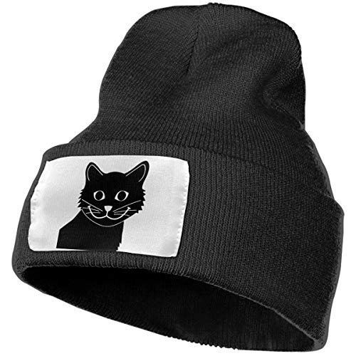 Beanie Hat Knit Hat Cap Happy Cat Sad Fish Unisex Cuffed Plain Skull Knit Hat Cap Head Cap Black ()