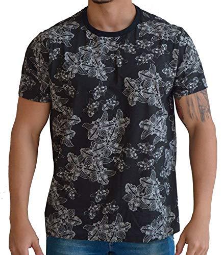 2543acc144 Camiseta Floral Masculina - Preta com Flores Brancas  Amazon.com.br ...