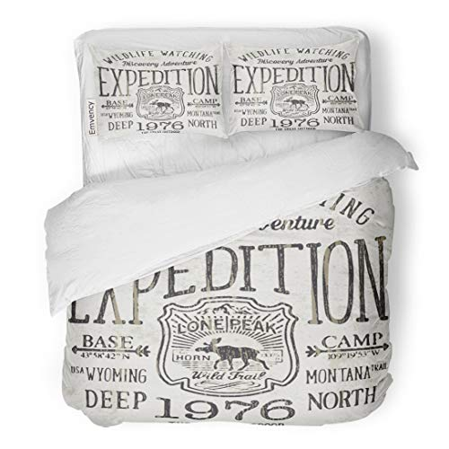 Tarolo Bedding Duvet Cover Set Moose Lone Peak Wild Trail Expedition for Boy Mountain Silhouette Vintage 3 Piece Twin 68
