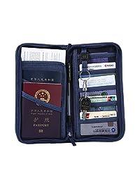 Kobwa - Cartera multifuncional de viaje, organizador de pasaporte, tarjetas, celular, llaves, bolígrafos y dinero en efectivo, Azul, 1
