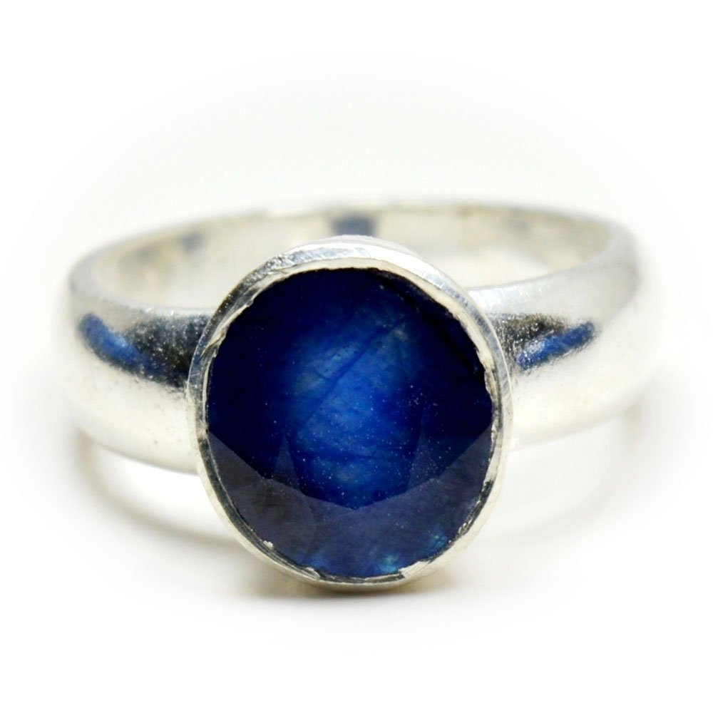 55Carat Natural Blue Sapphire Silver Ring For Men 6 Carat Oval Birthstone Size 4,5,6,7,8,9,10,11,12,13