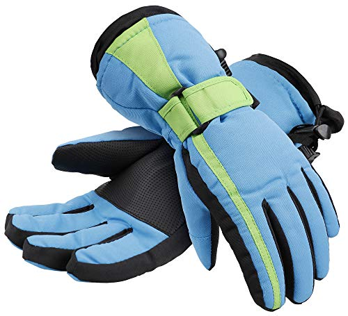 Simplicity Boys Youth Waterproof and Thinsulate Winter Ski Snow Gloves, Black/Blue Green-M(6-8Years)