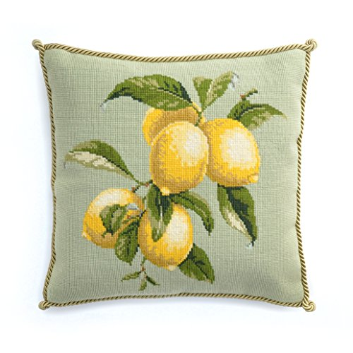 Lemons Needlepoint Kit Elizabeth Bradley premium English needlepoint pillow project on pale green background with 100% wool yarns. Fruits Collection.