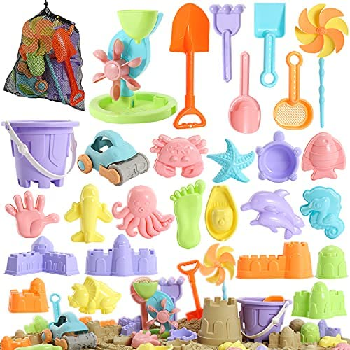 Beach Sand Toys for Kids – 31 pcs Sandbox Toy Set for Kids 3-10, Sand Castle Toys with Water Wheel, Bucket, Shovel Tool Kit, Windmill, Sand Molds Summer Beach Toys in Mesh Bag, Kids Outdoor Beach Toys