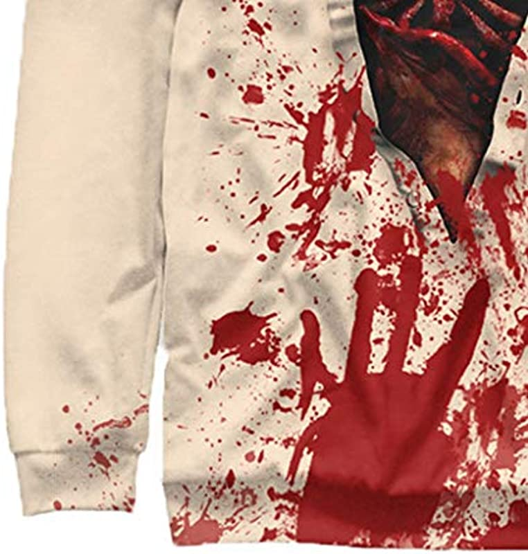 PAOLIAN unisex męska bluza z nadrukiem 3D sweter z okrągłym wycięciem pod szyją męski Halloween kostium Horror swobodna koszulka z długim rękawem okrągły dekolt bluza top: Odz
