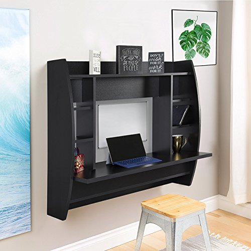 WBhome Floating Desk with Storage Wall Mounted Black