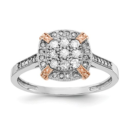 (10k Two Tone Yellow Gold Rose White Diamond Band Ring Size 7.00 Fine Jewelry Gifts For Women For Her)