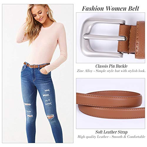 SUOSDEY Womens Skinny Leather Belt Solid Color with Pin Buckle Simple Waist Belt for Jeans Dress Pants Christmas Gifts