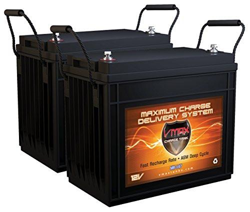 (QTY2 VMAX MR147-155 12V 155AH AGM Deep Cycle Batteries for Berkley BTX75 - Saltwater Electric 24V 75lbs Trolling Motor)