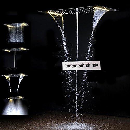 Gowe? Juego de ducha empotrable LED de techo con 5 funciones ...