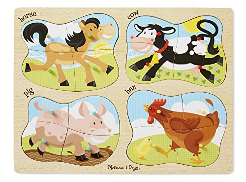 Melissa & Doug Farm 4-in-1 Wooden Peg Puzzle - Horse, Cow, Pig, and Hen (16 pcs)