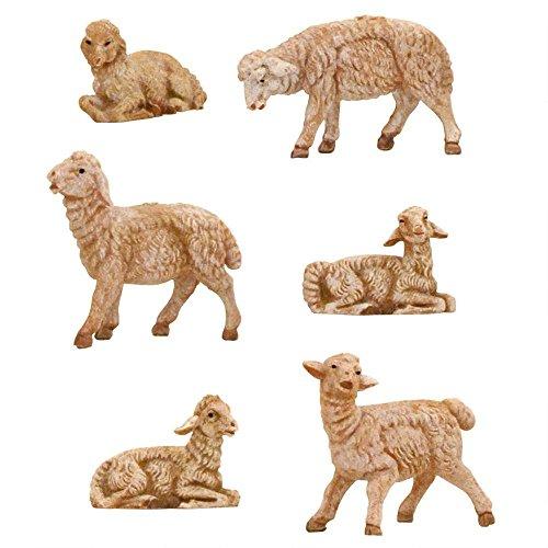 Roman Fontanini 6 Piece Sheep Figurines, 3.5 Inch Scale (Fontanini Sheep)