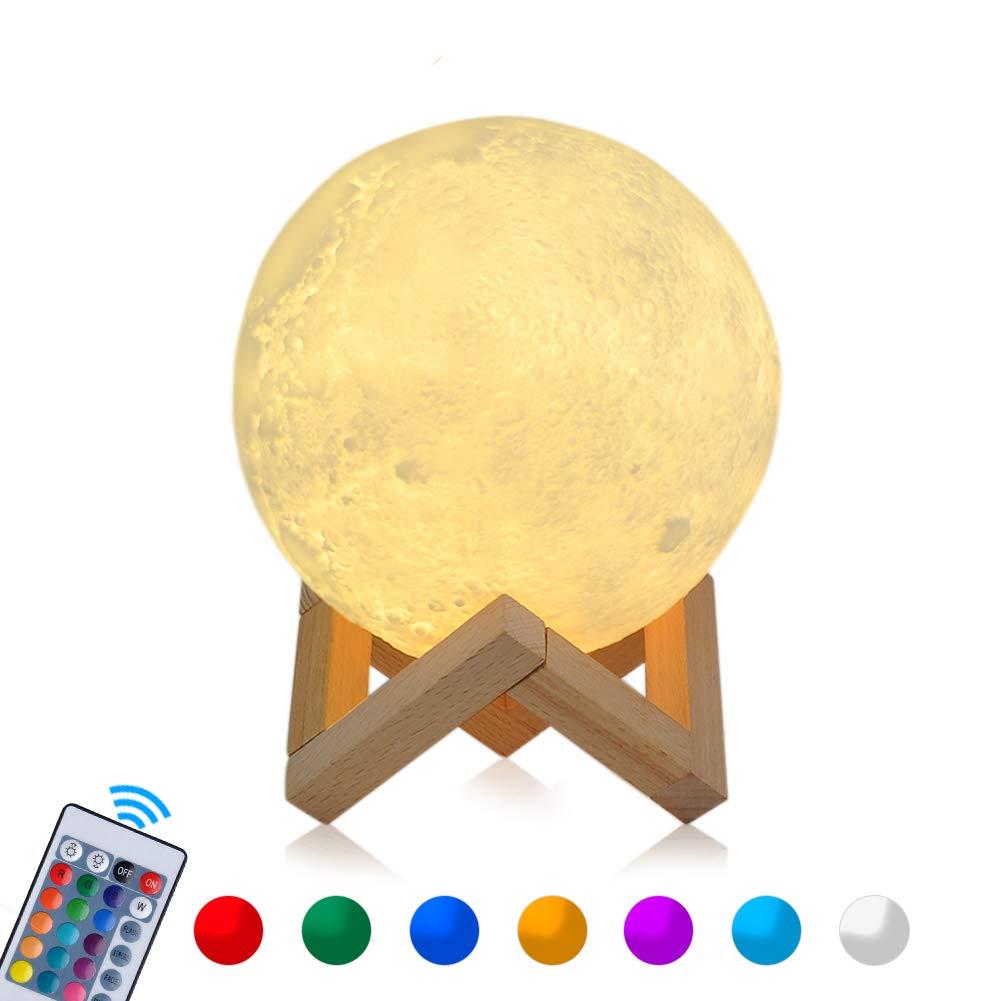 15cm RGB Mond Lampe LED Moon Lampe COSANSYS Nachtlicht Dimmbare Touch Nachtlampe tragbares Stimmungslicht mit Fernbedienung und Timer Funktion, USB Aufladung,16 Farbe Wählbar Dekoleuchte für Schlafzimmer, Wohnzimmer,Cafe, Bar, Esszimmer, Büro auch als Weih