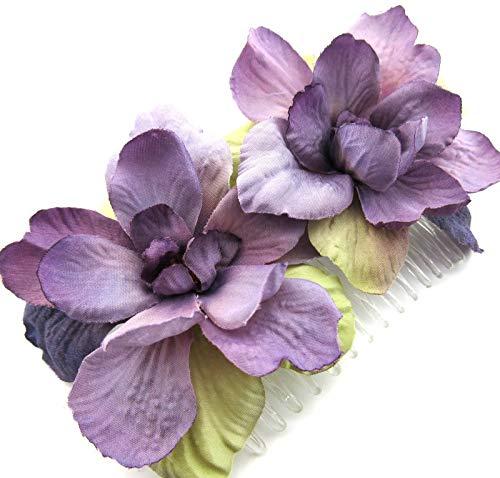 (Double Lavender Apple Blossom Silk Hair Comb)