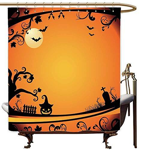 MaryMunger Womens Shower Curtain Vintage Halloween Halloween Themed Image Eerie Atmosphere Gravestone Evil Pumpkin Moon Bathroom Decoration W55x86L Orange Black]()