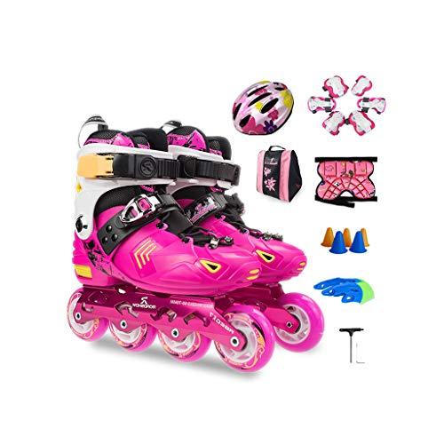 考えた学士保守可能ailj インラインスケート、スピードスケート、子供用スーツ、ローラースケート、調節可能スケート(3色) (色 : Pink, サイズ さいず : M (32-36) 6-12 years old)