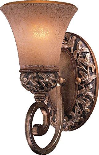 - Minka Lavery Wall Sconce Lighting 5551-477, Salon Grand Glass Damp Bath Vanity Fixture, 1 Light, 100 Watts, Patina