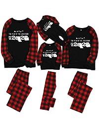 Matching Family Christmas Pajamas Sets Christmas PJ's with Red Plaid Long Sleeve Tee and Pants Loungewear