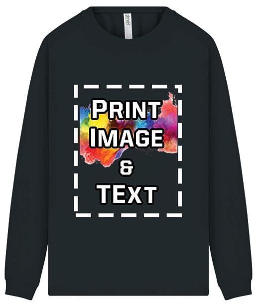 ad65dff0 Custom Image Text Design Logo Add Activity UPF Cool Dry Performance Long  Sleeve Shirt Black