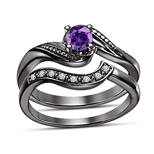TVS-JEWELS Round Cut Purple Amethyst & White Cz Fancy Promise Wedding Bridal Ring Matching Band Ring Set (Fancy Cut Amethyst Ring)
