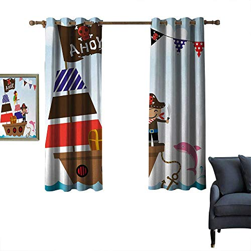 Stevenhome Energy-Efficient Grommet Curtain Ahoy Its a Boy College/Dorm Decoration Cute Pirate Kids Treasure Chest with Ship on Ocean Background Illustration 63