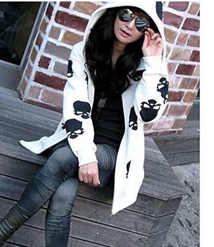 Urparcel Womens Fashion Skull Hoodies Outwear Zip Up Hooded Coats Jackets XL,White