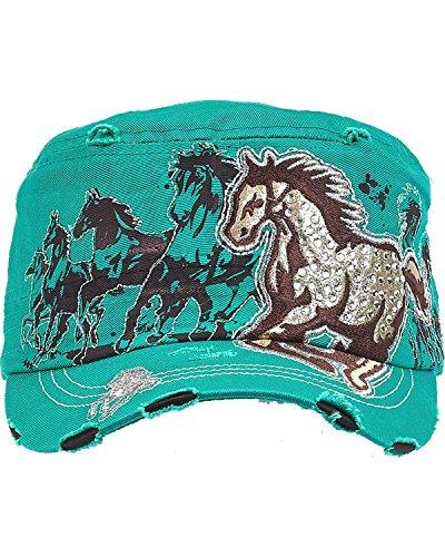 Western Express Women's Vintage Running Horse Rhinestone Cadet Cap Turquoise One Size (Cap Cadet Rhinestone)