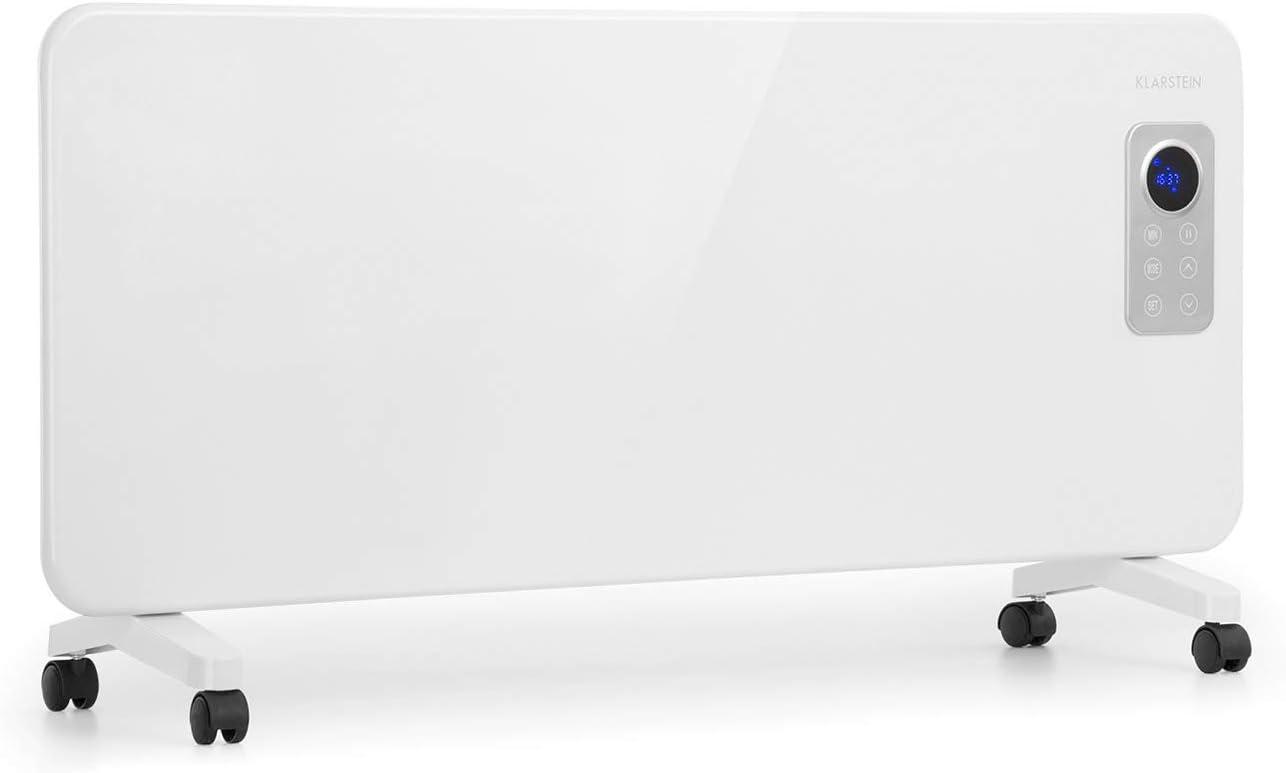 KLARSTEIN Hot Spot CV20 Convector - Calefactor portátil, Calefactor eléctrico, 1000 ó 2000 W, Termostato, Pantalla LCD, Control táctil, IP24, con Mando a Distancia y ruedecillas, Blanco