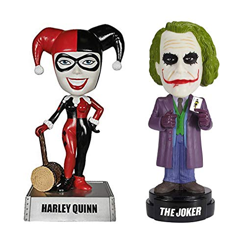 Retail Sales Solutions DC Comics Wacky Wobbler Bobble-Head Talking Joker and Harley Queen 2 Piece Gift Bundle