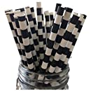 Just Sip It Biodegradable Vintage Paper Drinking Straws, Black Striped, Pack of 50
