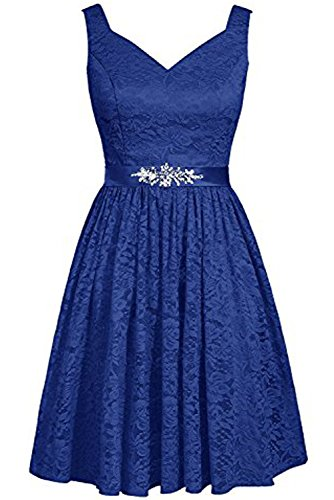 DressyMe Women's 2018 Short Lace Bridesmaid Party Dress Sash Sweetheart A-line-26W-Royal Blue ()