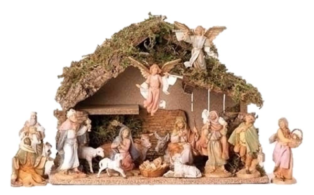Fontanini 16 Piece Christmas Nativity Set with Italian Stable Figurine 54492