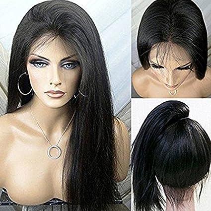 PlatinumHair - Peluca de encaje frontal de yaki, pelo liso, pelo sintético, encaje