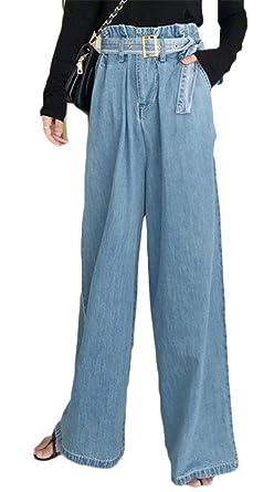 P&E Women Cozy Wide Leg Ruffled High Waisted Belted Denim