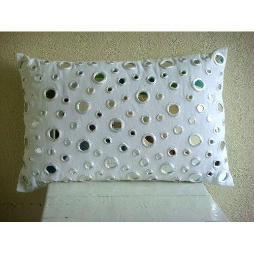 White Lumbar Pillow Cover, Mirror Polka Dots Lumbar Pillow C